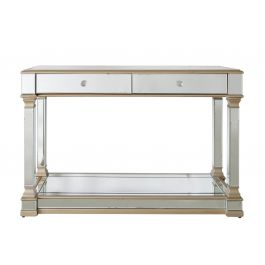 Louis Two Drawer Mirror Gold Console Table