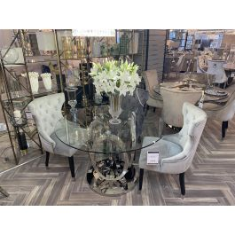 Zara Glass Round Dining Table & 4 Chairs