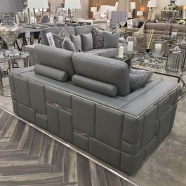Denver Grey Leather Sofa 3 Seater