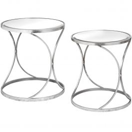 Curved Silver Set Of 2 Tables