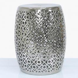 Silver Ceramic Stool