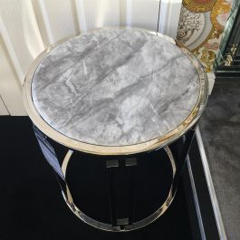 Ovada Grey Marble Top Side Table With Silver Frame