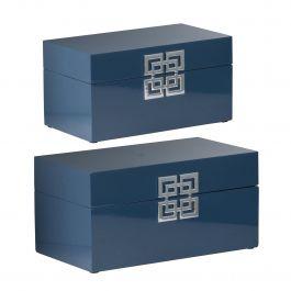 Set Of 2 Blue Decorative Boxes