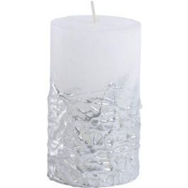 White Candle Textured Silver Base 7x12
