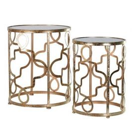 Gold Cultural Set Of 2 Round Tables