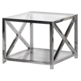Toronto Glass And Steel End Table