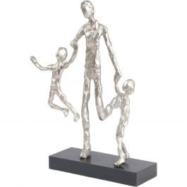 FATHER PLAYING WITH CHILDREN SILVER SCULPTURE