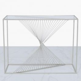 Brisa Metal & Clear Glass Console Table