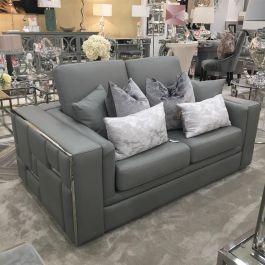 Denver Grey Leather 2 Seater Sofa