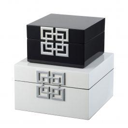 Set Of 2 Black & White Decorative Boxes