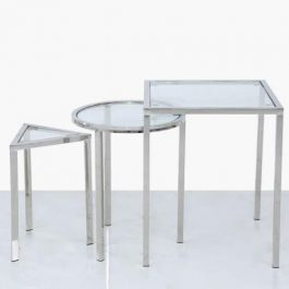 Theo Stainless Steel And Glass End Tables Set Of 3