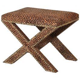 Leopard Print Hide Cross   Stool