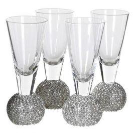 Set of 4 Silver Diamante Shot Glass
