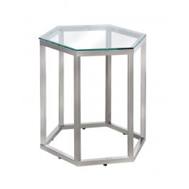 The Hexagon Silver Metal End Table