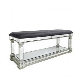 The Louis Mirror Silver Dressing Bench
