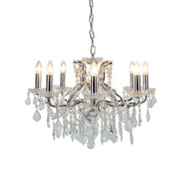 8 Branch Shallow Chrome Glass Chandelier