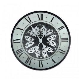 Roman Gears Wall Clock Black & Mirrored