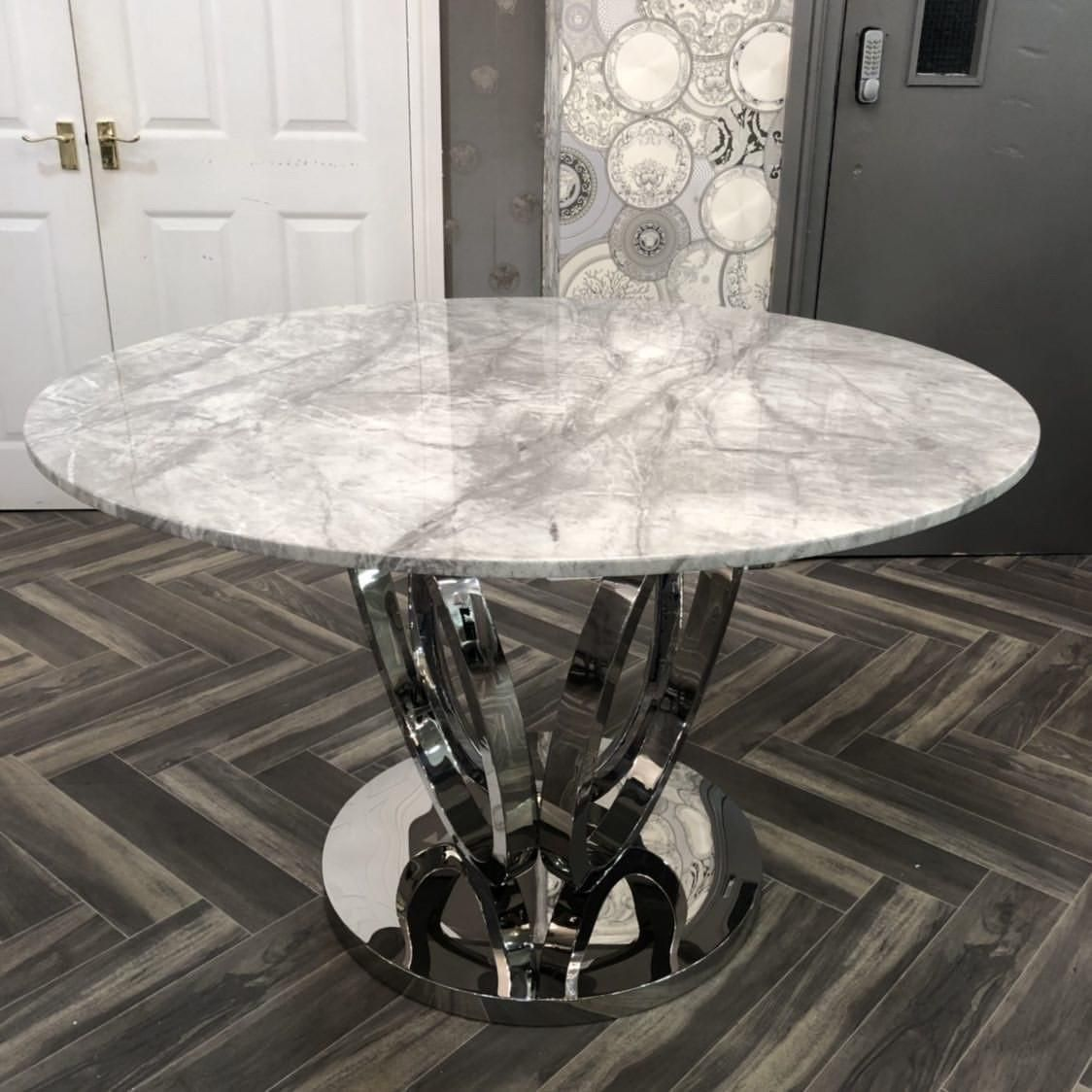 Picture of: Zara 120cm Grey Round Marble Dining Table Dining Room My Home Rock
